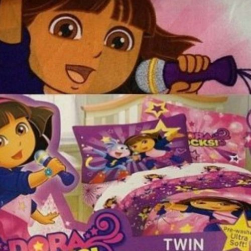 Nickelodeon Girls Dora The Explorer Bed Sheets Twin Size Sheet Set Rock On Dora back-1074703