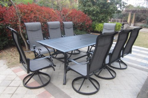 Pebble Lane Living Weather Resistant 9pc Powder-Coated Cast Black Aluminum Padded Swivel Patio Set with Slat Top Table - Seats 8
