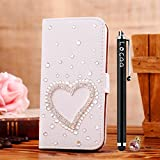 Locaa(TM) Huawei Honor 6 3D Bling Case + Phone stylus + Anti-dust ear plug Deluxe Luxury Crystal Pearl Diamond Rhinestone eye-catching Beautiful Leather Retro Support bumper Cover Card Holder Wallet Cases - [General series] loving heart