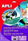Apli Paper 11204 Etiquetas Adhesivas DVD 117mm 10H