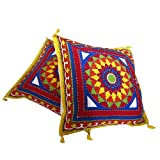 Floral Printed Embroidered Set of 2 Handmade Cotton Pillow Covers from India 41 x 41 cmsby DakshCraft