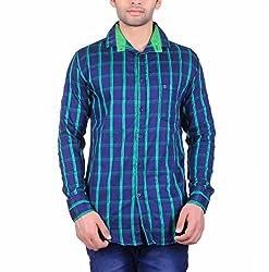 Cotblend Men's Casual Shirt (COTBLEBD9-L, Blue, L)