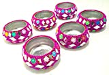 Artshai set of 6 decorative multiple design red colour diya tealight candle holder for christmas decoration