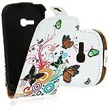 Electro-Weideworld Neu Leder Tasche für Samsung Galaxy Fame Lite S6790 Flip Magnet Case Schutz Hülle Cover Etui Handy Schale mit Schmetterling #2