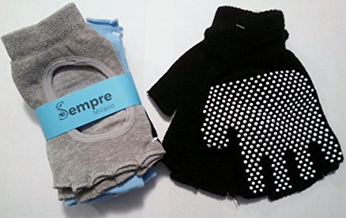 Yoga-Socks-and-Glove-Non-Skid-Sticky-3-Pairs-slip-resistant-gripper-in-cotton-lycra-maximum-grip-for-hot-yoga-ballet-pilates-dance-barre-fitness-or-working-out-at-the-gym-or-office