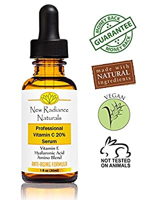 Best Cheap Deal for New Radiance Naturals - GUARANTEED Best Results Natural & Organic Anti-Aging Vitamin C Serum With 20% Vitamin C + E + 11% Hyaluronic Acid + MSM For Fading Wrinkles, Freckles, Acne Scars, Discoloration & Age Spots On Face And Hands. 1 O