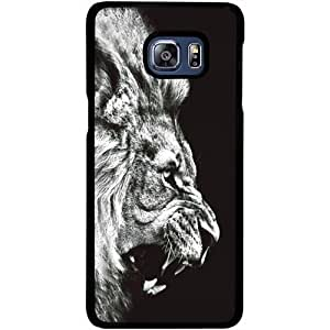 Casotec Angry Lion Design 2D Hard Back Case Cover for Samsung Galaxy S6 edge Plus - Black