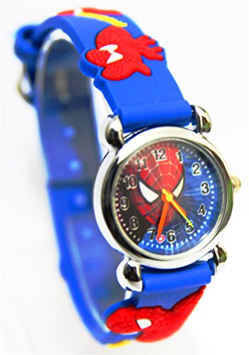 3D Cartoon Spiderman Pattern Girl'S Boy'S Kids Wrist Quartz Watch Silicone Bands For Party
