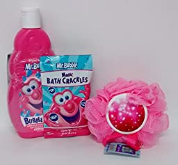 Mr. Bubble Bath Bundle Magic Snap Pop Fizz Sponge Hypo-Allergenic Tear Free
