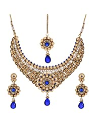 Shahenaz Jewellers 24 Ct Gold Plated Bridal Jewellery Set With CZ And Marquis Stones For Women - B00R2IOZLS