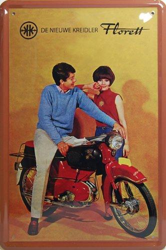 Kreidler Florett Motorcycle, Motorcybike Metal Tin Sign, Art Vintage Style Wall Ornament Coffee Decor, 20 X 30 Cm.