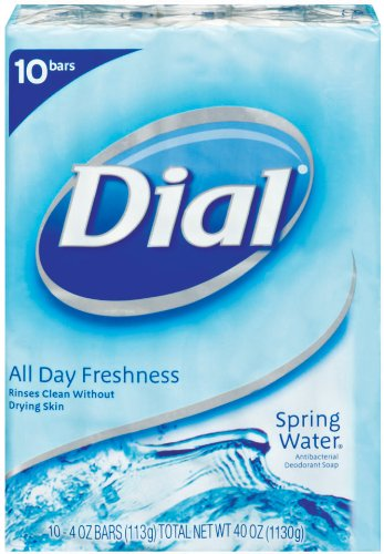 Dial Spring Water Antibacterial Soap Bar, 4-Ounce Bars, 10-Count (Pack of 3)