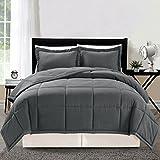 3 piece Luxury GREY Goose Down Alternative Comforter set, Full / Queen Duvet Insert