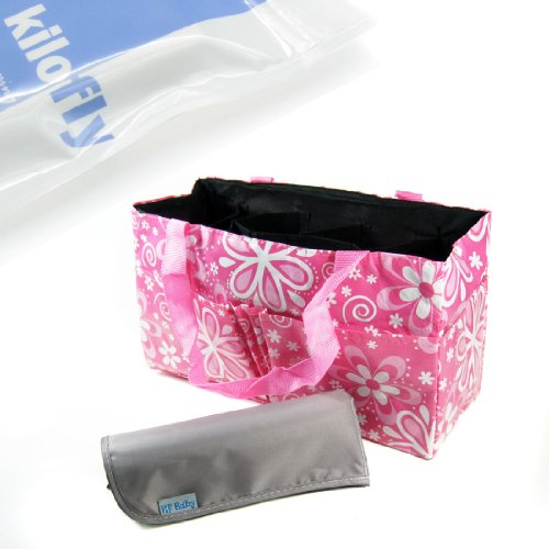 KF Baby Diaper Bag Insert Organizer, Pink + Diaper Changing Pad Value Combo - 1