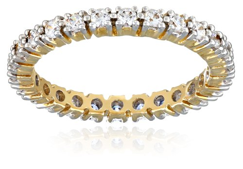 10k Yellow Gold Round All-Around Band Ring Made with Swarovski Zirconia (3/4 cttw), Size 6