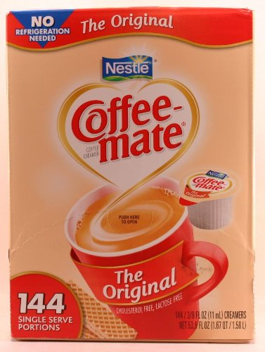 Nestle Coffee-Mate Coffee Creamer - Oringal Flavor - 144 Single Serve Portions - 3/8 Fl Oz (11Ml) Creamers Net Wt 53.5 Fl Oz (1.67Qt) (1.58L)