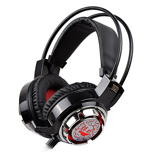 UZOU ステレオゲーミングヘッドセット ゲーミングヘッドセット 耳を掛け PC、スマホ用ゲーミングヘッドホン 着脱式 5.1chサラウンドシステム 調節可能 マイク付き