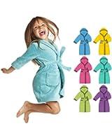 Kinder Bademantel Unisex mit Kapuze in versch. Farben und Größen