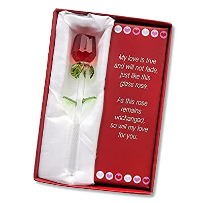 """Forever Rose ~ Valentines Day or Special Occasion, Perfect Gift ~ Say I Love You with this Handmade Glass Roses with Love Poems 5"""" Boxed (RED, 1)"""