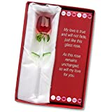 "Forever Rose ~ Valentines Day or Special Occasion, Perfect Gift ~ Say I Love You with this Handmade Glass Roses with Love Poems 5"" Boxed (RED, 1)"