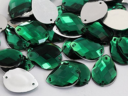 18x13mm Green Emerald CH18 Square Cut Teardrop Flat Back Sew On Gems - 50 Pieces (Flat Back Gem compare prices)