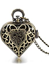 JewelryWe Vintage Filigree Flower Pattern Hollow Heart Pocket Watch Pendant Quartz Sweater Necklace Chain