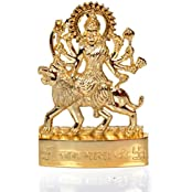 Hashcart Maa Durga Sherawali Statue- Brass Gold Plated Especially For Diwali Puja And Gift Purpose (4 Inch)