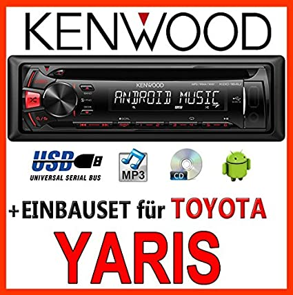 Toyota yaris modèles 2003-2006 kenwood kDC - 164 uR autoradio cD/mP3/uSB avec kit de montage