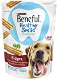 Purina Beneful Healthy Smile Dental Dog Snacks - For Large Dogs - Ridges With Savory Meaty Middle Accented With Parsley - 7 Treats Per Package - Pack of 2