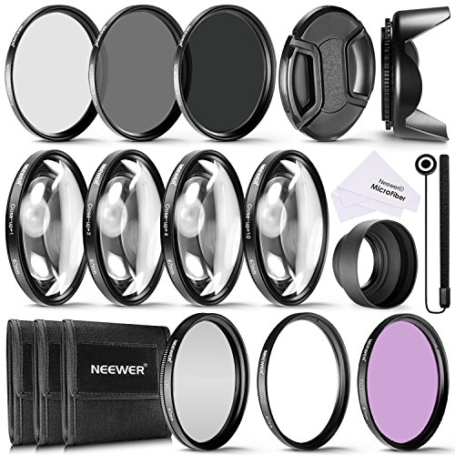 Neewer® 67mm Kit di Accessori e Filtri Completo per Obiettivi con Filettatura 67mm: Set di Filtri UV/CPL/FLD + Macro Close-up Set (+1 +2 +4 +10) + Set di Filtri ND (ND2 ND4 ND8) + Altri Accessori