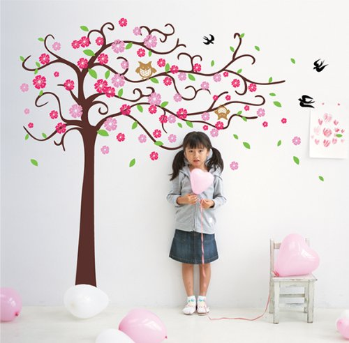 Pop Decors Removable Vinyl Art Wall Decals Mural for Nursery Room, Cute Flower Tree with Cute Owl
