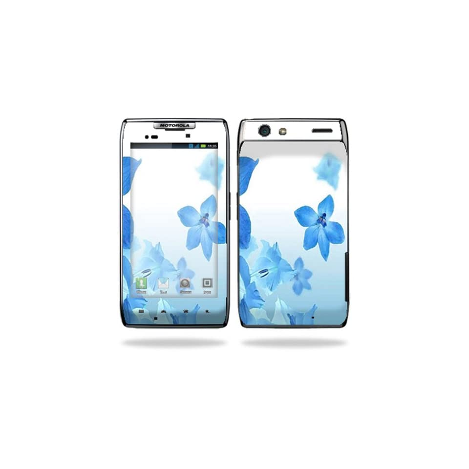 Protective Vinyl Skin Decal Cover for Motorola Droid Razr Maxx Android Smart Cell Phone Sticker Skins   Blue Flowers