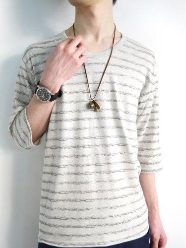 (モノマート) MONO-MART 8color ボーダー 5分袖 カットソー Tシャツ メンズ オートミール