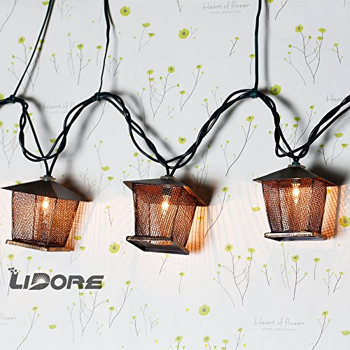 LIDORE 10 Counts Vintage Bronze Iron Nets Lanterns Plug-in String Lights. Great For Indoor/Outdoor Decoration. Best Ambience Decorative Lights. Warm White Glow. 1