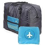 Wandf Foldable Travel Duffel Bag Luggage Sports Lightweight Gym Water Resistant Nylon (32L, Blue)