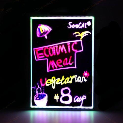 Led Writing Board Illuminated Erasable Neon Led Message Menu Sign Writing Board Led Panel Lighting Smd5050 50*70Cm Toughened Glass -Black