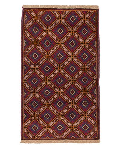 Hand-Knotted Teimani Wool Rug, Navy/Red, 2' 10 x 4' 6 Runner