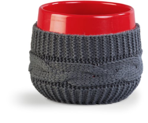Ivyline 62215RD Planter with Grey Pullover - Red