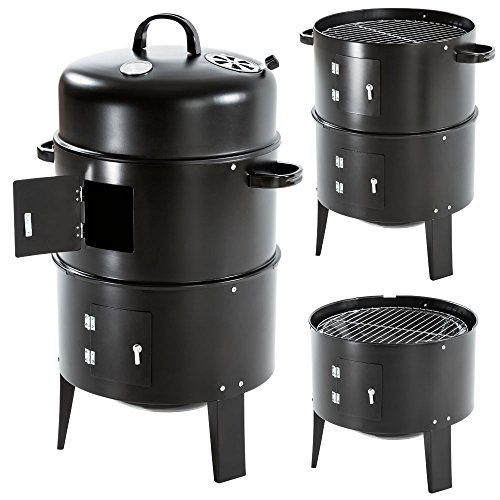 TecTake® 3in1 BBQ Holzkohlegrill Barbecue Smoker