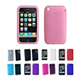 Apple iPhone 3G 3Gs 8GB 16GB 32GB Textured Silicone Skin Case Cover, Pink, One Size