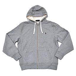 Polo Ralph Lauren Classic Full-Zip Fleece Hooded Sweatshirt - L - Gray