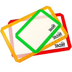 "Silchef Silicone Heat-Resistant Baking Mat Set - 3 pieces - Professional Grade Non-Stick- includes two Large Half Sheet Sizes 16.5"" x 11 6/8 and One Small Toaster Oven size 11.5"" x 8.5"""