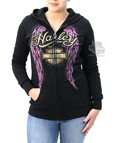 Harley-Davidson Womens Purple Angel Wings Fleece Full Zip Black Long Sleeve Hoodie - LG
