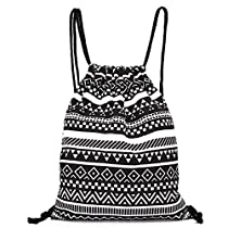 Leoy88 Drawstring Backpack Retro Geometric Canvas Sack Bag