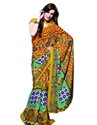 Prafful Chiffon Printed Saree With Unstitched Blouse - B00KNUD2MU