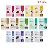DERMAL Collagen Essence Full Face Facial Mask Sheet (13 Green Combo Pack)