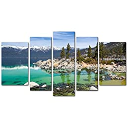 So Crazy Art - Canvas Print Wall Art Painting For Home Decor,Sandy Lake Tahoe Beach With Crystal Clear Turquoise Water And Some Kayakers Rocky Shore In Nevada California United States.Cloud Snow With Sierra Nevada Mountains Rocks Trees In Northwest Twilig
