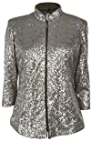 Alex Evenings Womens Sequin Zip Jacket