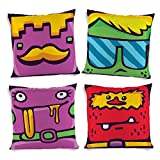 ShopMantra Lovable Monsters Printed Cushion Cover Set Of 4 16*16 Inch Multicolor Cushion Cover