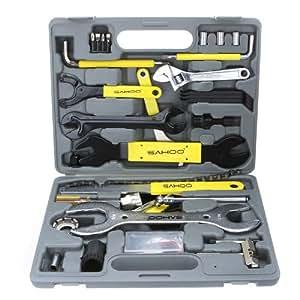 Lixada sahoo 44pi ces coffret d 39 outils v lo multifonction de r paration et entretien avec boite - Boite a outils velo ...